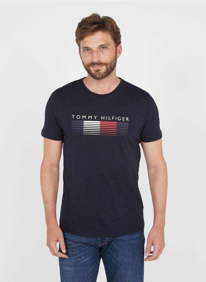 TOMMY HILFIGER Tee-shirt col rond regular-fit sérigraphié en coton bio Bleu
