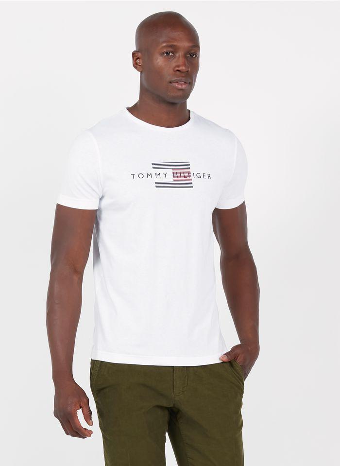 TOMMY HILFIGER Tee-shirt col rond regular-fit sérigraphié en coton Blanc