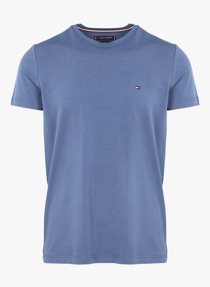 TOMMY HILFIGER Tee-shirt col rond slim-fit en coton bio Bleu