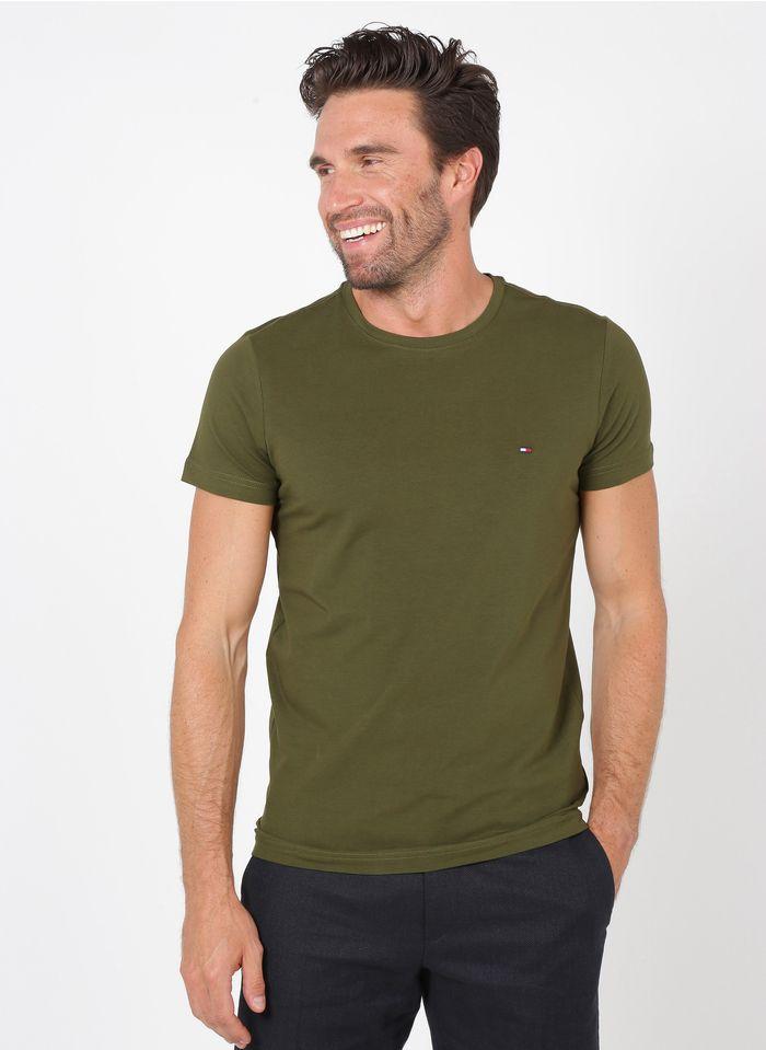TOMMY HILFIGER Tee-shirt col rond slim-fit en coton bio Marron