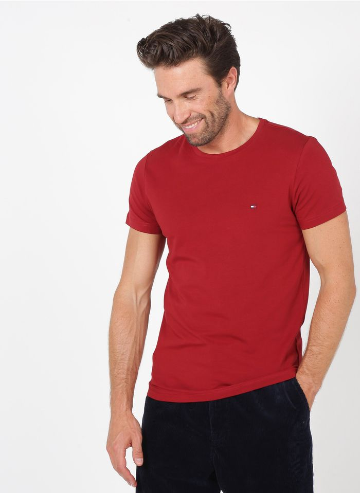 TOMMY HILFIGER Tee-shirt col rond slim-fit en coton bio Rouge