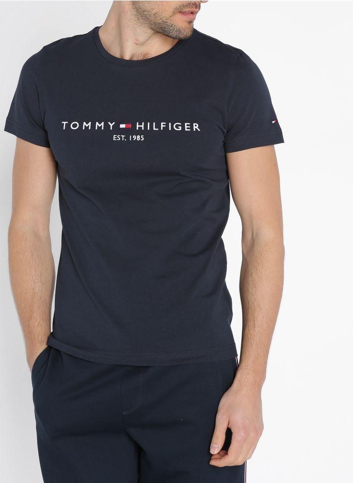TOMMY HILFIGER Tee-shirt slim-fit col rond brodé en coton bio Bleu