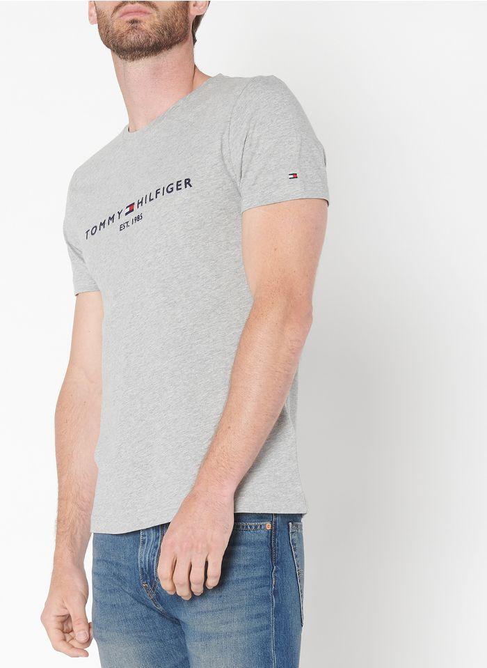 TOMMY HILFIGER Tee-shirt slim-fit col rond brodé en coton bio Gris