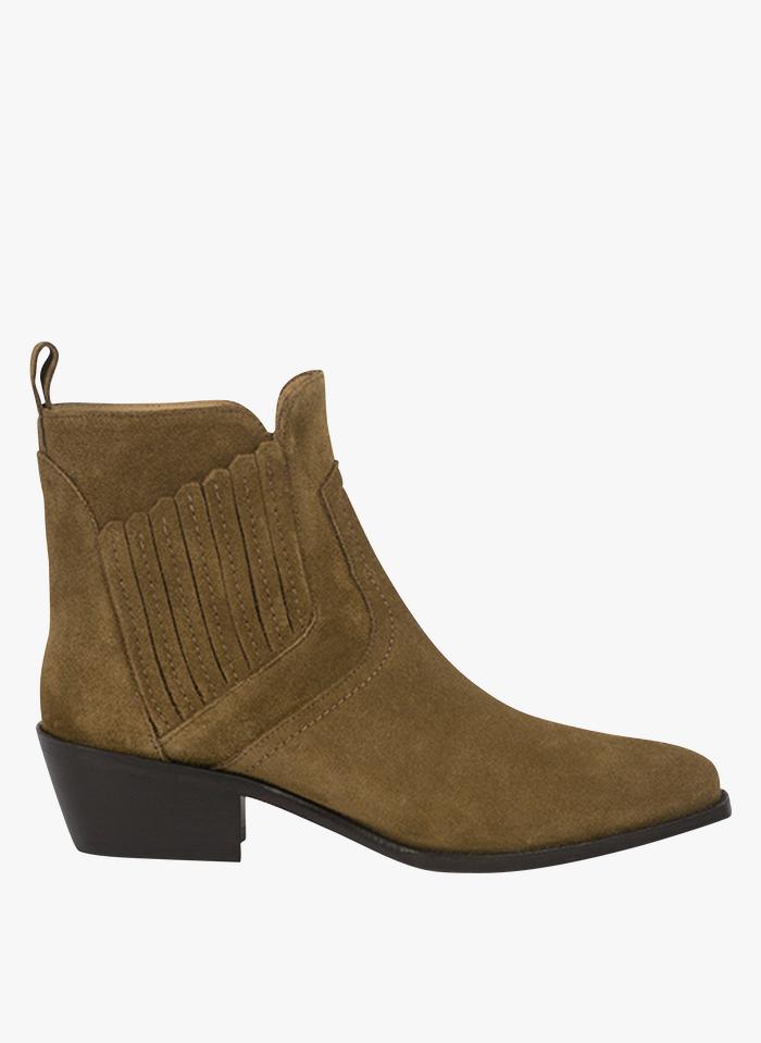 VANESSA BRUNO Boots Santiags en cuir Marron