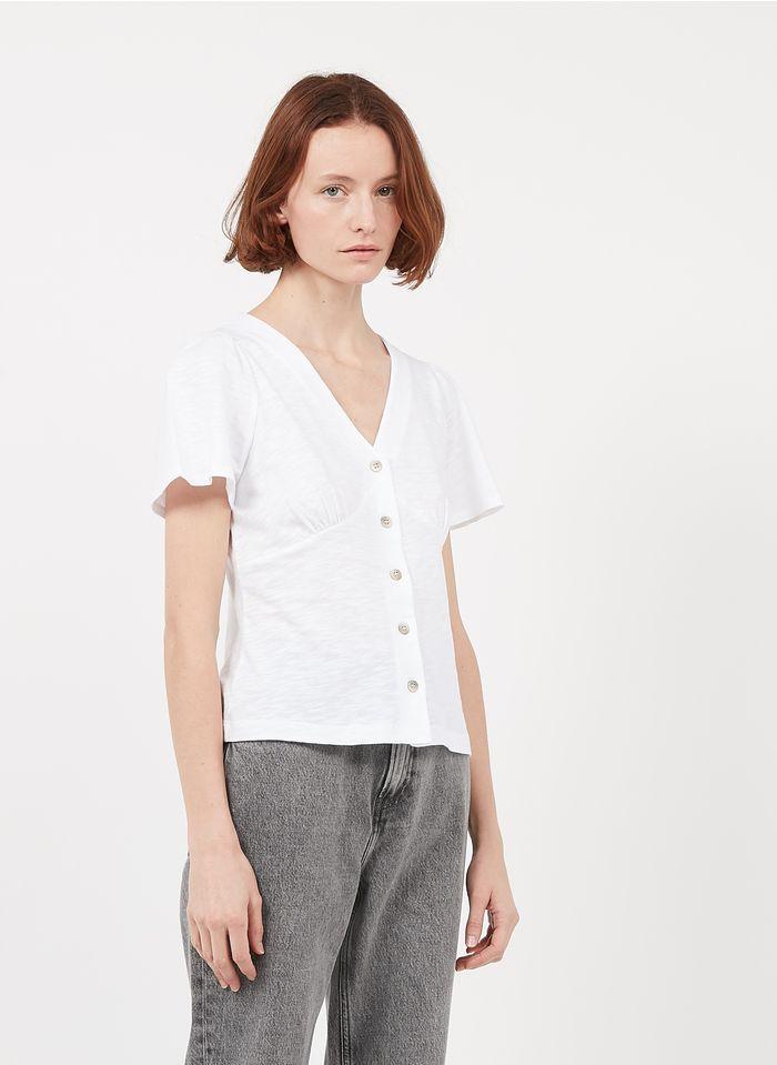 WHISTLES Top col V boutonné en coton Blanc