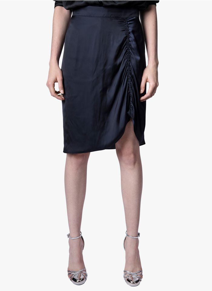 ZADIG&VOLTAIRE Jupe courte avec fronces en satin Bleu