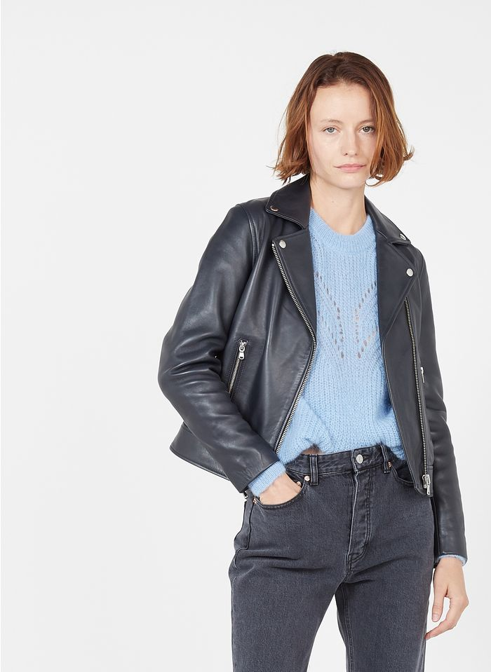 ZAPA Blouson zippé en cuir Bleu