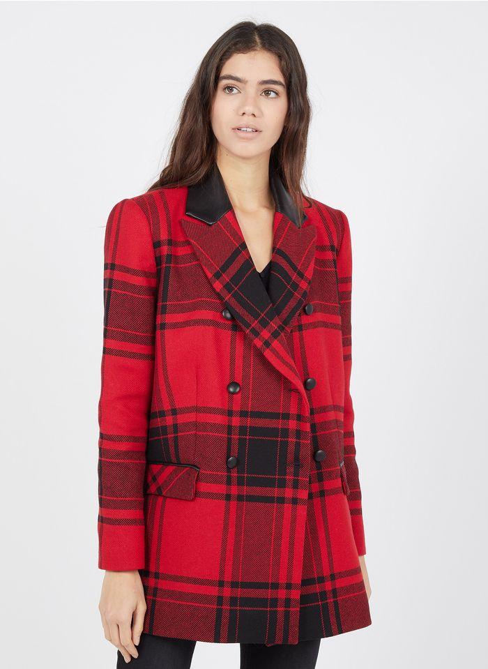ZAPA Manteau croisé col tailleur à carreaux bi-matière en coton mélangé Rouge