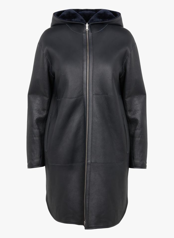 ZAPA Manteau réversible à capuche en peau lainée Bleu