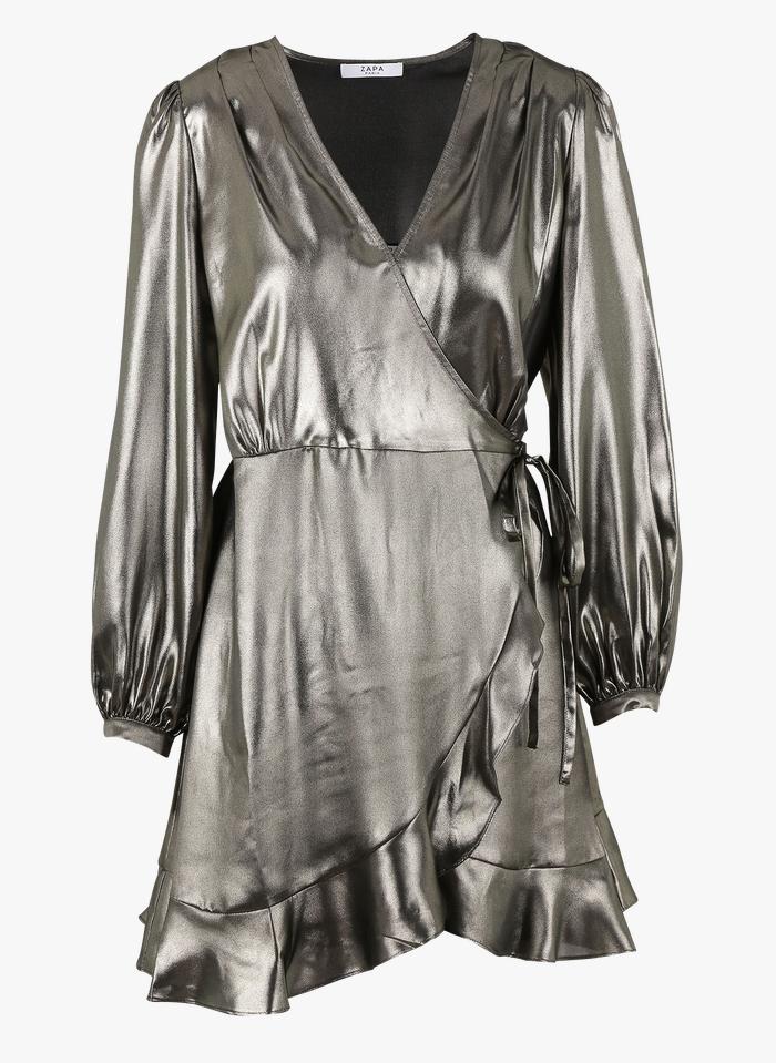 ZAPA Robe courte cache-coeur métallisée  Argent