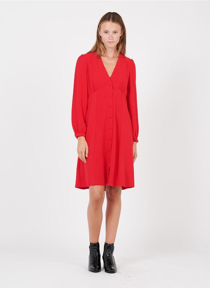 ZAPA Robe courte col V en crêpe Rouge
