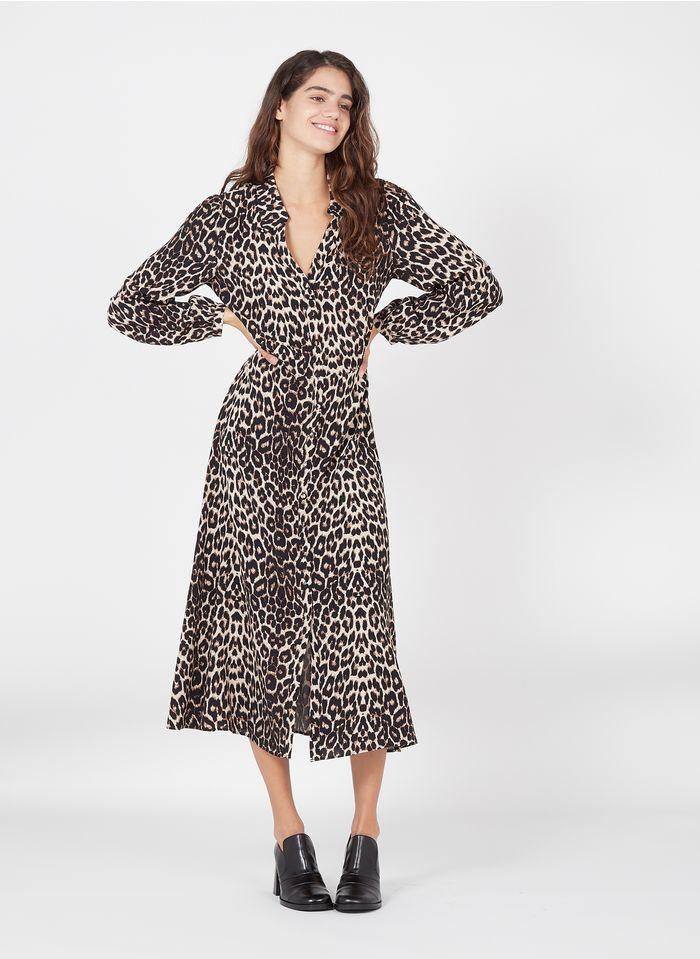 ZAPA Robe longue col classique imprimé léopard en crêpe Beige