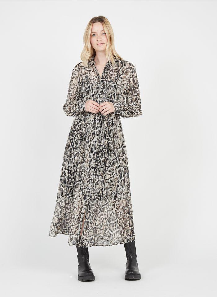 ZAPA Robe longue col classique imprimé python Beige