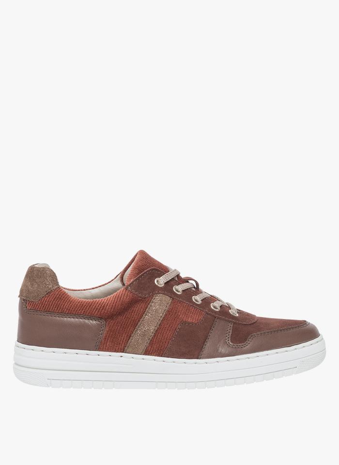 BOCAGE Sneakers basse in pelle e tessuto Marrone