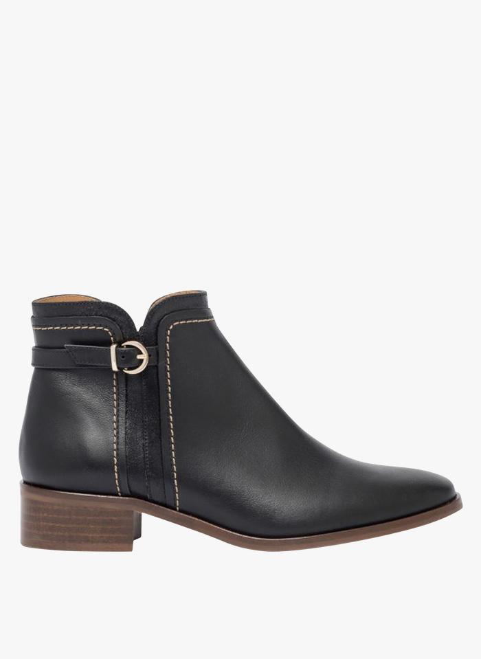 BOCAGE Stivali con tacco basso in pelle Nero