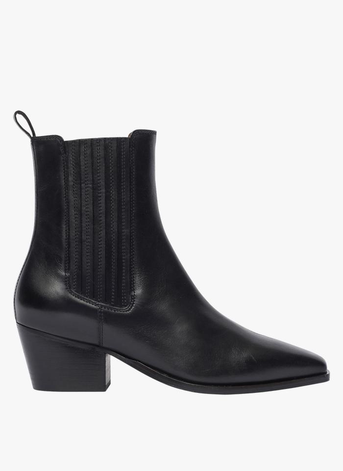 BOCAGE Stivali in pelle liscia con elastici ricoperti Nero