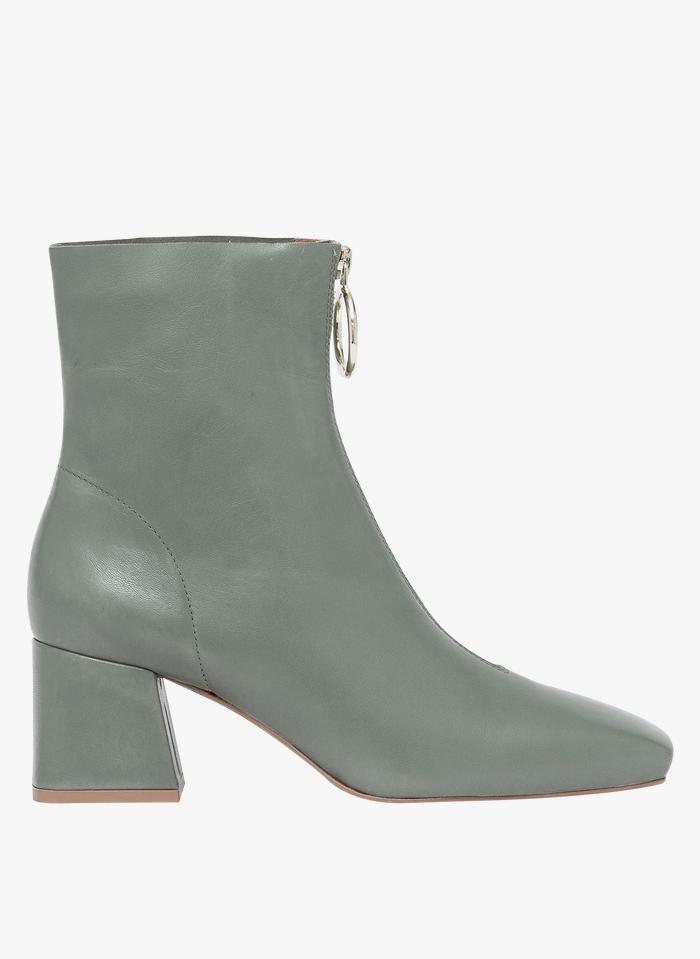 BOCAGE Stivali in pelle liscia con zip sul davanti Verde