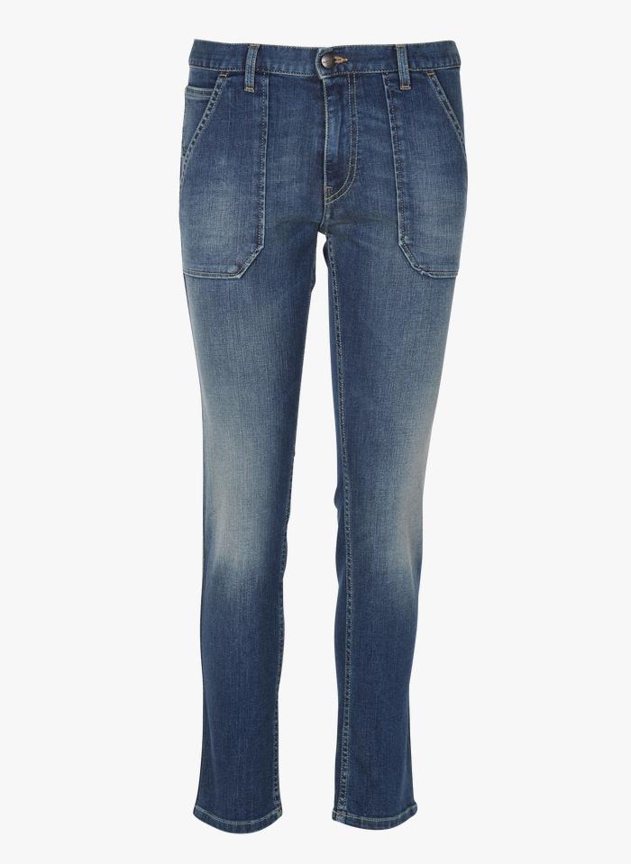 ACQUAVERDE Slim-fit jeans met hoge taille Jeans verschoten