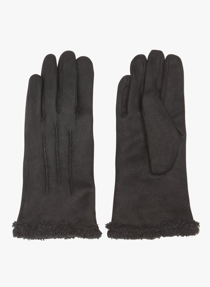 AU PRINTEMPS PARIS Handschoenen van suèdine Zwart
