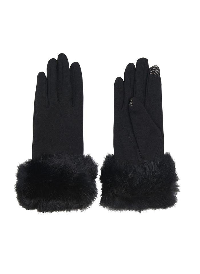 AU PRINTEMPS PARIS Tricot handschoenen met synthetisch bont Zwart