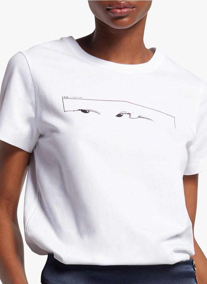 COP.COPINE Katoenen T-shirt met ronde hals en zeefdruk Wit