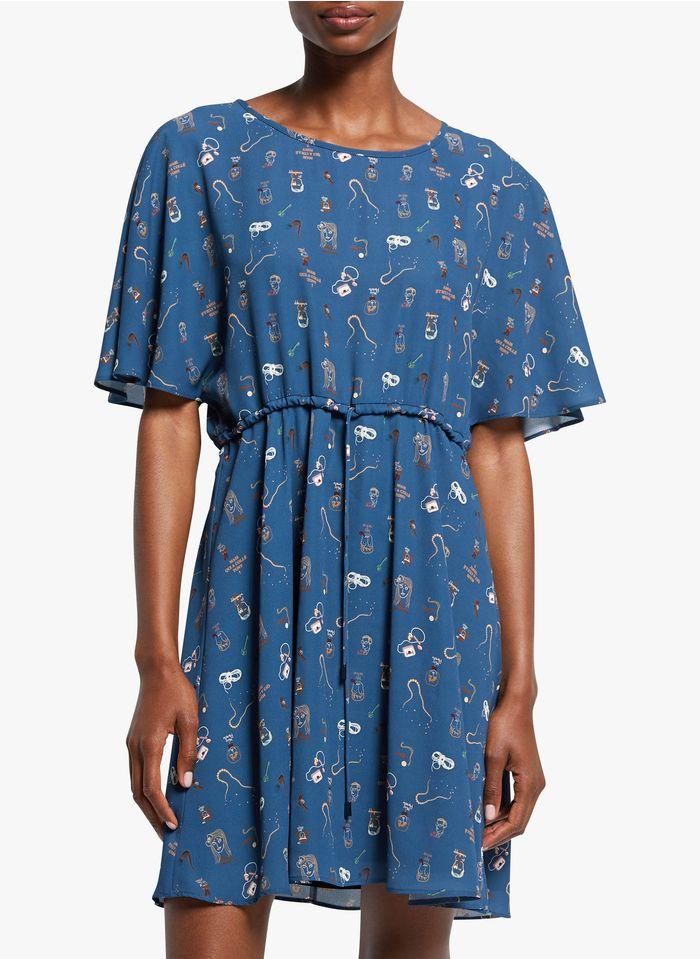 COP.COPINE Korte jurk met ronde hals en print Veelkleurig