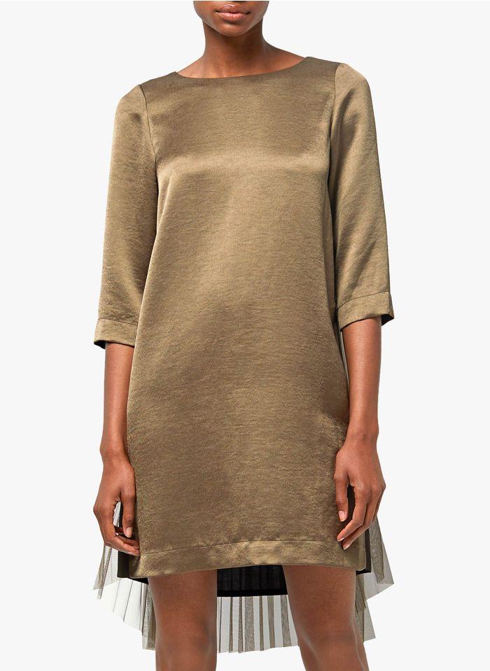 COP.COPINE Korte jurk met ronde hals en tule Kaki