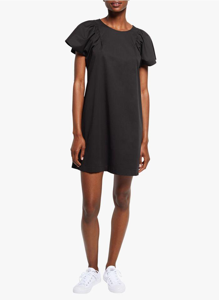 COP.COPINE Korte jurk met ronde hals - katoenblend Zwart