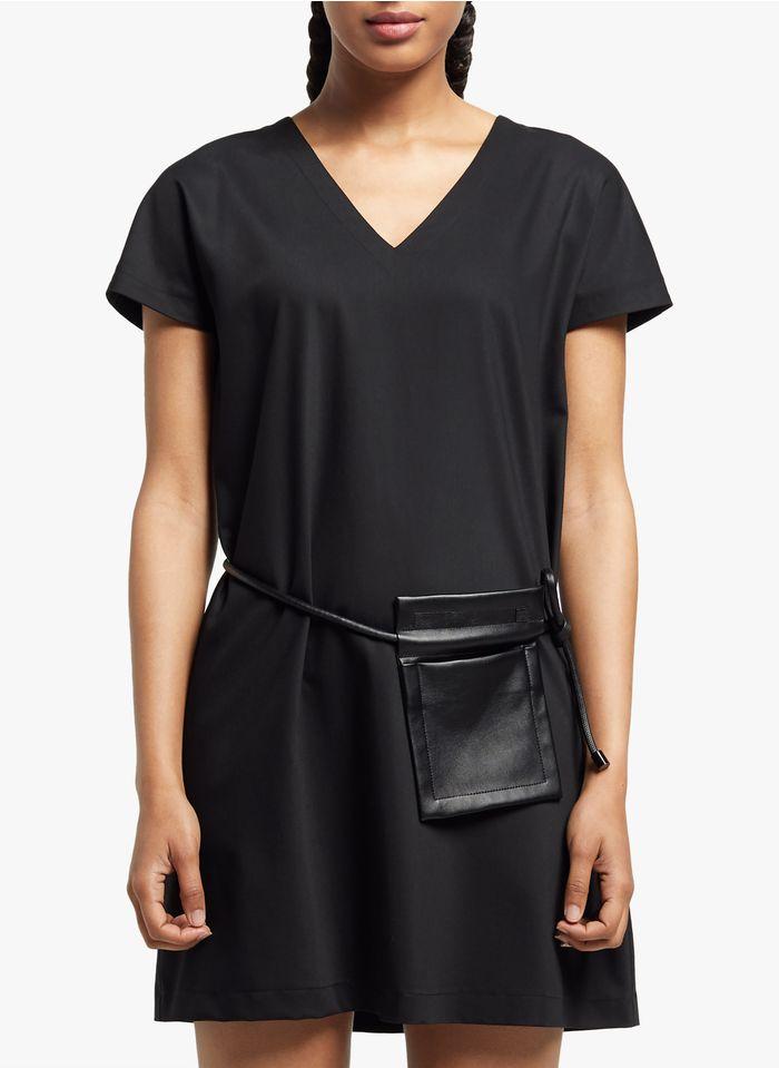 COP.COPINE Korte jurk met V-hals en ceintuur Zwart