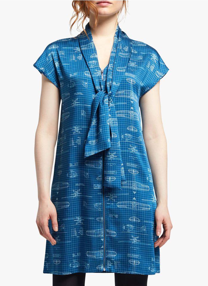 COP.COPINE Korte jurk met V-hals, rits en print Blauw