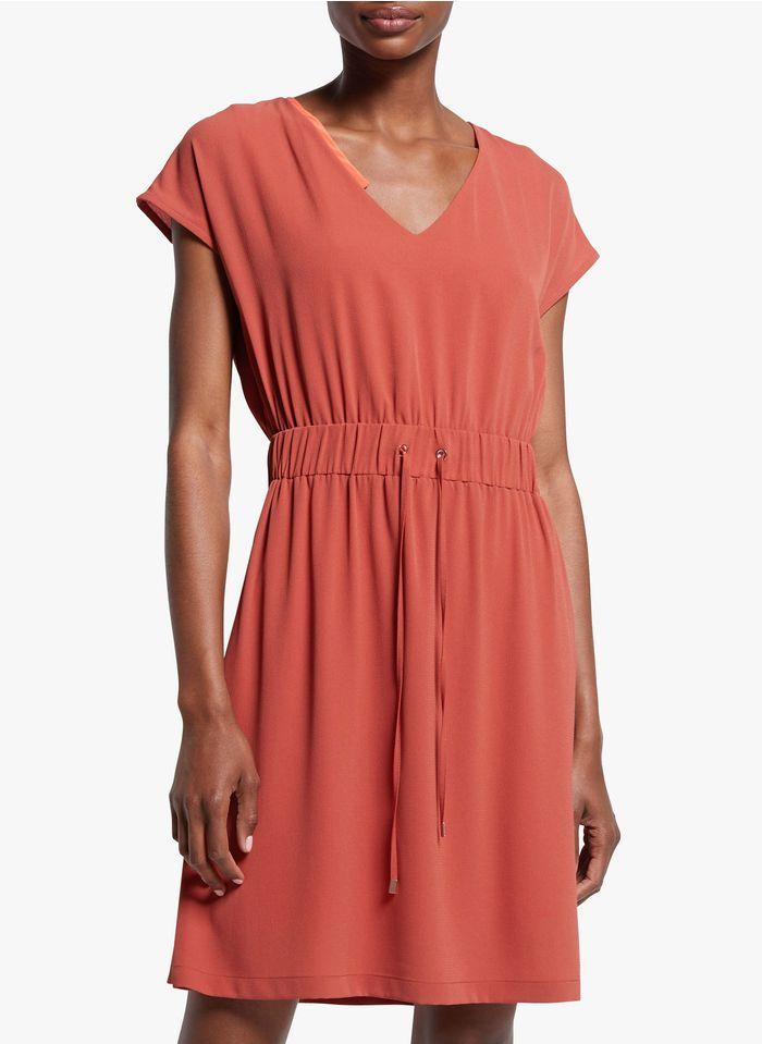 COP.COPINE Korte jurk van crêpe met V-hals Oranje