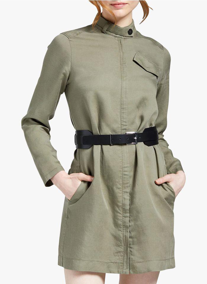 COP.COPINE Korte jurk van gemengde lyocell met opstaande kraag Kaki