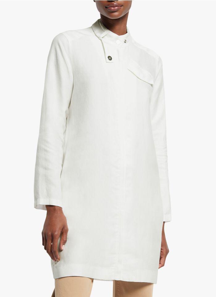 COP.COPINE Korte jurk van gemengde lyocell met opstaande kraag Wit