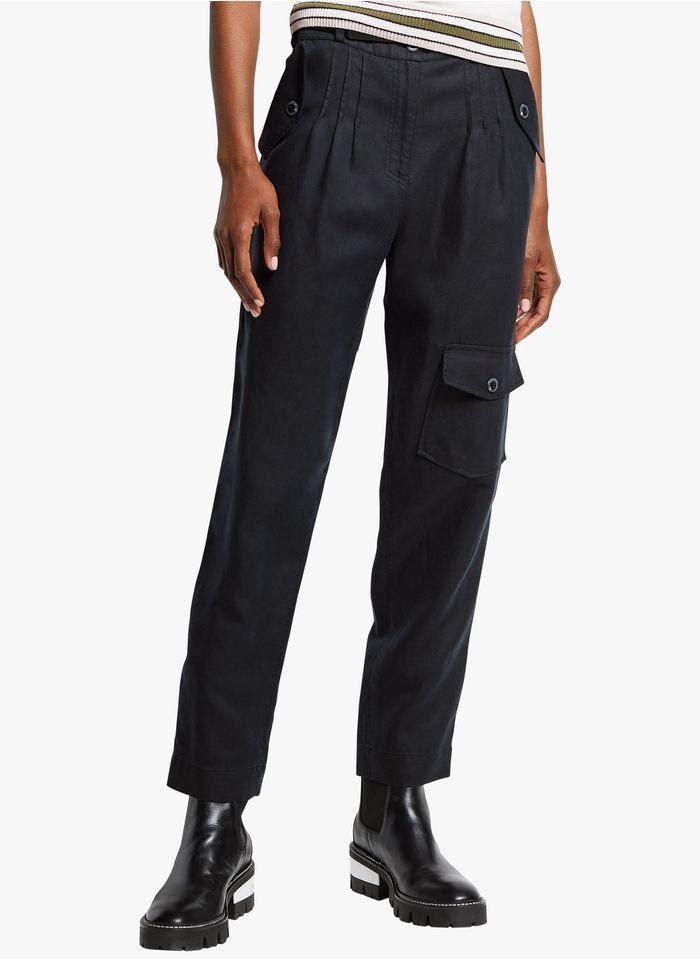 COP.COPINE Rechte broek van lyocell met hoge taille Zwart