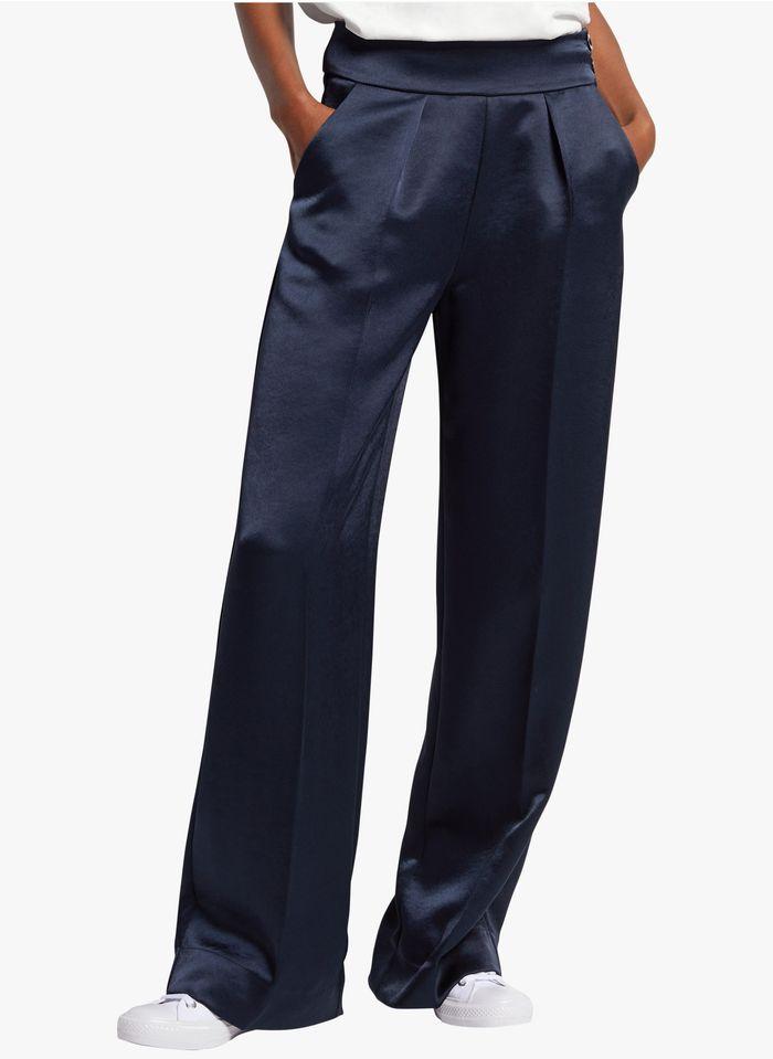 COP.COPINE Wijde, glanzende broek Blauw