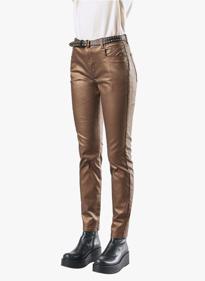 COTELAC Slim-fit, gecoate jeans van stretchkatoen Bruin