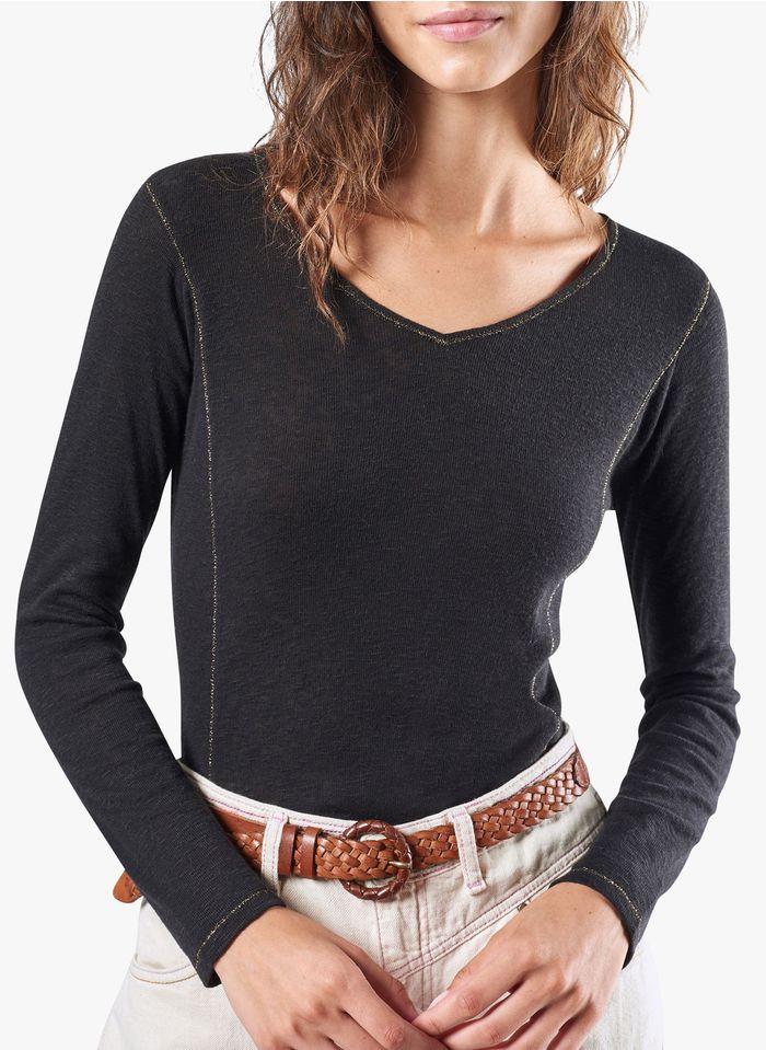 COTELAC T-shirt met V-hals en sierstiksel met glansdraad Zwart