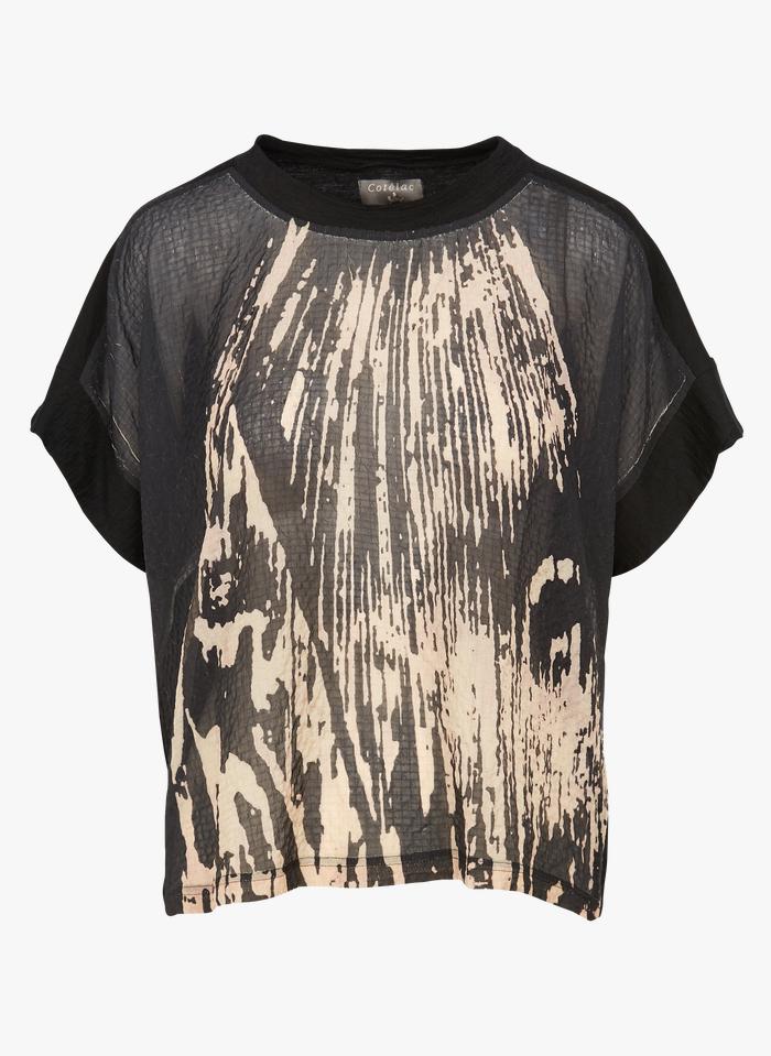 COTELAC T-shirt van twee soorten stof met ronde hals Zwart