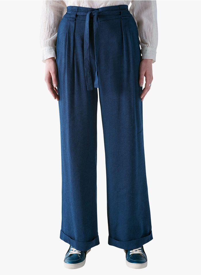 COTELAC Wijde broek met hoge taille - linnenblend Blauw
