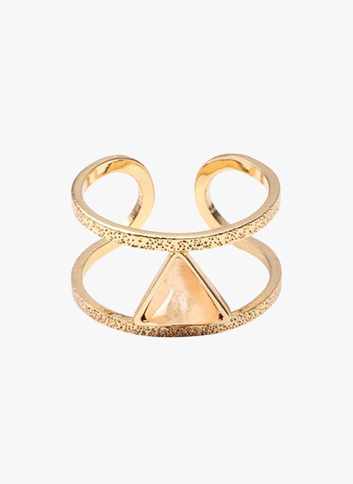 EMMA & CHLOE Cabochonring met driehoekig steentje Goudkleurige
