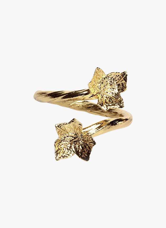 EMMA & CHLOE Verstelbare ring met bladmotief Goudkleurige