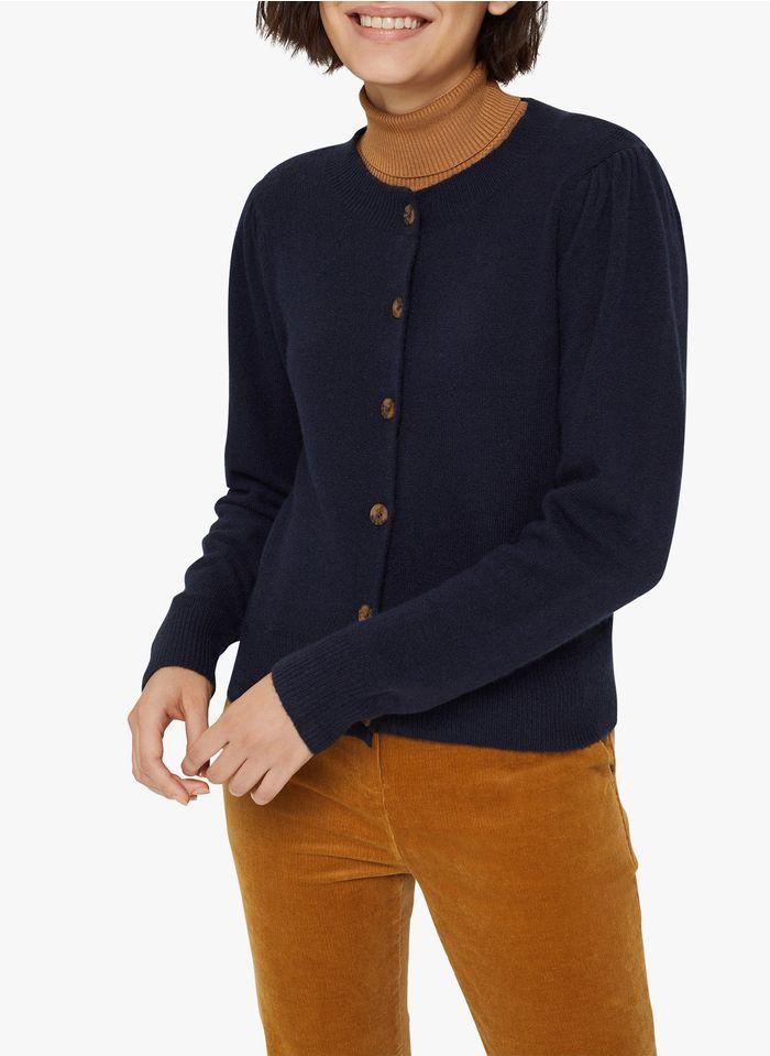 ESPRIT Gebreid vest met ronde hals - materiaalblend Blauw