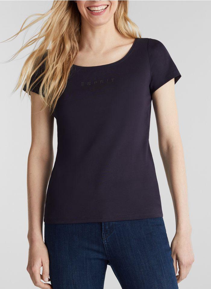 ESPRIT Katoenen T-shirt met ronde hals Blauw