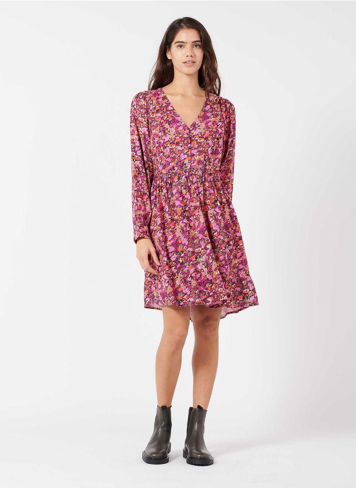FRNCH Korte jurk met V-hals en bloemenprint Roze