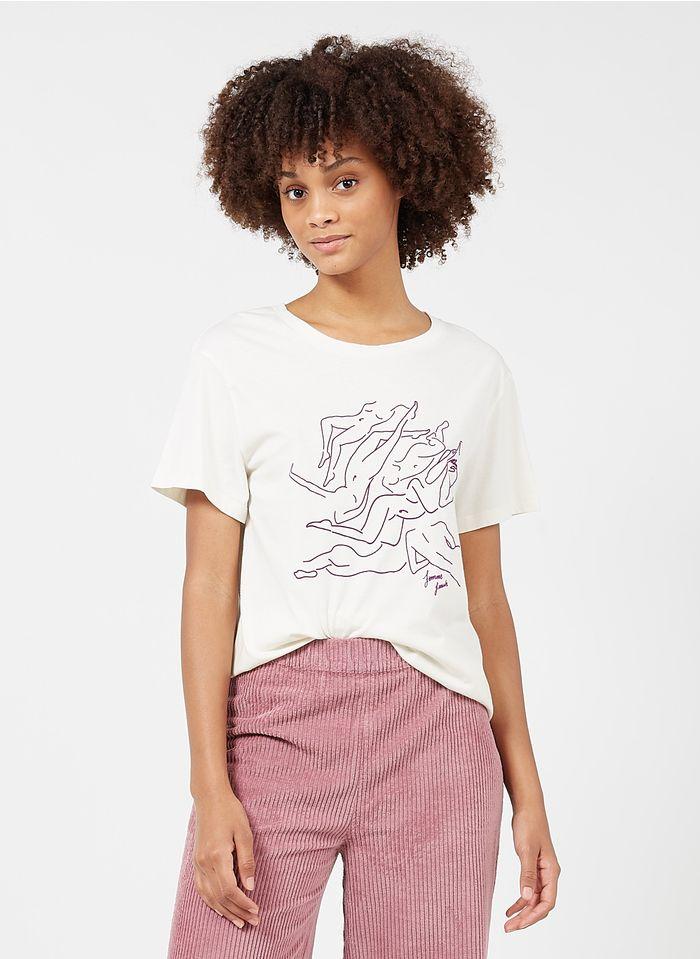 FRNCH T-shirt van biokatoen met ronde hals en zeefdruk Wit