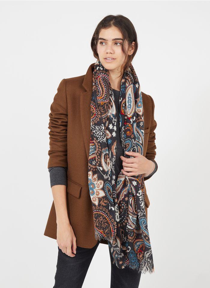 GERARD DAREL Foulard van wol en zijde met print Zwart
