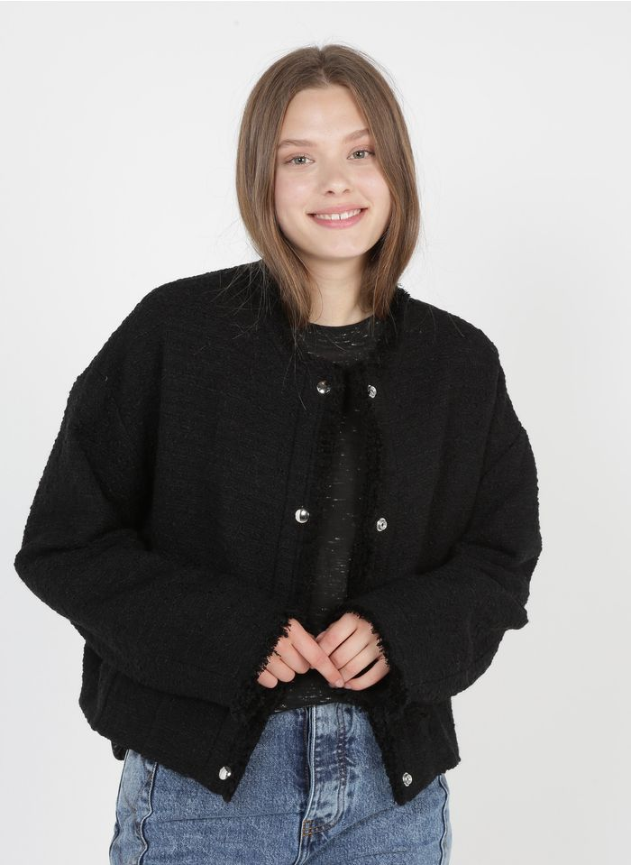IRO Ruimvallend tweedjasje met ronde hals Zwart