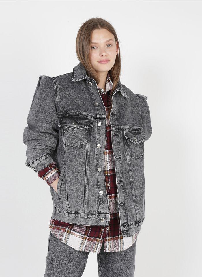 IRO Verwassen jeansjasje met klassieke kraag Grijs