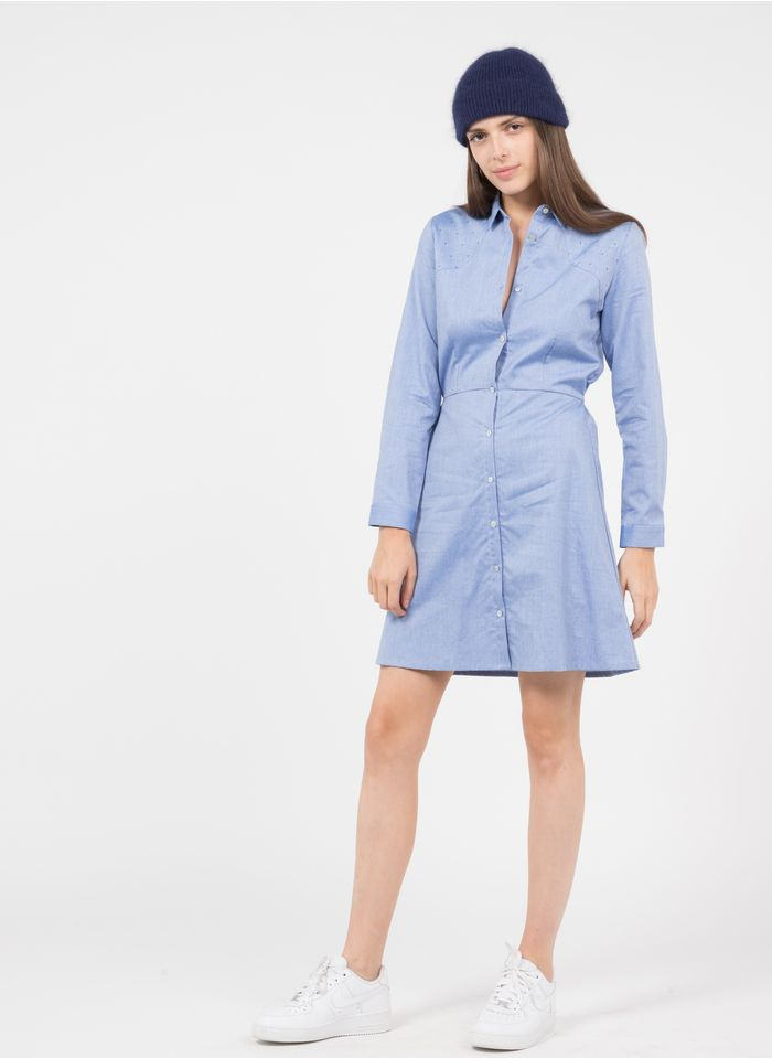 KARL MARC JOHN Korte, katoenen jurk met klassieke kraag Blauw