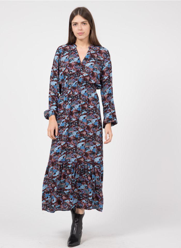 KARL MARC JOHN Lange jurk met Tunesische hals en bloemenprint Bruin